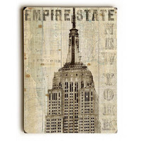 Vintage NY Empire State Building by Artist Michael Mullan Wood Sign