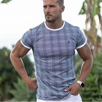 Short sleeve T-shirt Mens Gyms Fitness Bodybuilding Superelastic Skinny Male Joggers Workout Tee Tops Crossfit Hip-hop Clothing