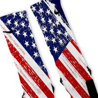 Patriotic Color USA Flag Custom Nike Elite Socks