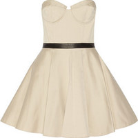 Alice + Olivia Simoes leather-trimmed cotton-blend bustier dress – 50% at THE OUTNET.COM