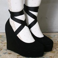 Goth Punk Rockabilly Suede Ballerina Wedge Ribbon Dolly Lolita Mary Janes Pump