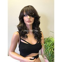 Brown Curlable Full Wig - Maya