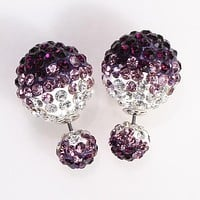 Mise en Gum Tee Style Tribal Earrings  - Crystal Drip Purple