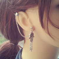 Hamsa, Prayer Hands Ear Cuff -Earring Stud, Silver plated, Chain - No cartilage piercing needed!