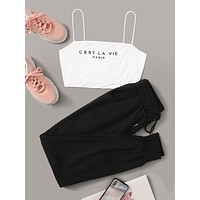 SHEIN Slogan Cami Top & Drawstring Waist Sweatpants Set Without Jacket