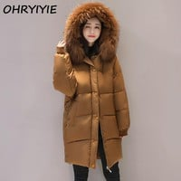 OHRYIYIE Plus Size 6XL 7XL Loose Parkas Women Winter Jacket And Coat Big Fur Collar Thick Cotton Padded Hooded Jacket Female W55