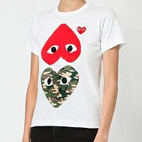 Comme des Garcons Play Women Men Casual Camouflage Heart Print Short Sleeve T-Shirt Top