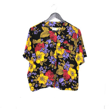 vtg floral button up top 80s vintage floral rayon relaxed fit tshirt short sleeve blouse