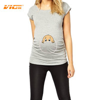 """VICVIK Brand Maternity T-Shirt Women Plus Size Clothes European Loose Pregnancy Top """"Baby Peeking Out"""" Special T for Pregnant"""