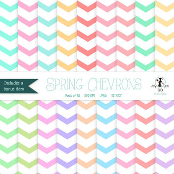 Chevron Digital Paper: 'Spring Chevrons' - Vibrant Spring Papers for scrapbooking, invitations, cardmaking - blue chevron green pink yellow