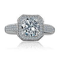2 CT Intensely Radiant Round Diamond Veneer Cubic Zirconia Stunning Micro pave Halo Engagement Fully Pave Upper Shank Sterling Silver Ring. 635R4002