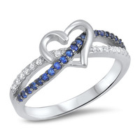 Blue Infintity Love Knot Heart Cz Sterling Silver Promise Ring