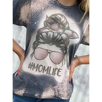 Volleyball Mom Life Messy Bun Bleached Dye Canvas Girlie T Shirt