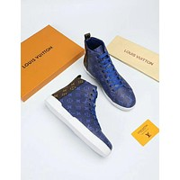 LV 2019 early spring new Monogram Eclipse canvas and pure white rubber sole men's high-top sneakers Blue