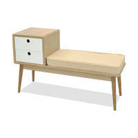 Mabel Entry Bench White/Natural