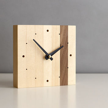 """Minimalistic 5.5"""" square desk clock walnut and birch wood with tapered matte black hands and dots"""