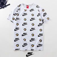 NIKE New fashion floral letter hook couple top t-shirt White