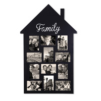 """Black Wood Wall Hanging Picture Photo Frame """"Family"""" House-Shape 12 Openings 4x6"""" [PF0548]"""