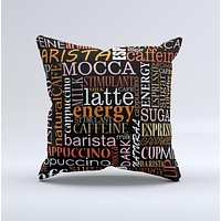 Cafe Word Cloud Ink-Fuzed Decorative Throw Pillow
