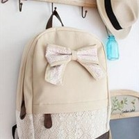 Fashion Cream Lace Backpack with Red Floral Bow from styleonline