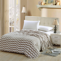 Chevron Modern Wave Beige Queen Size Ultra Plush Micro Fleece Blanket