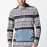 Palm Tree Jacquard Long Sleeve Hooded Shirt