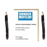 The Office TV Series Dwight Schrute Dunder Mifflin Memo Funny Happy Birthday Card