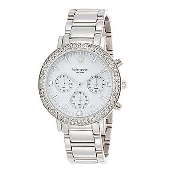 kate spade new york Pave Gramercy Grand Silver Chronograph Watch