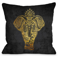 """""""India Elephant Gold"""" Indoor Throw Pillow by OneBellaCasa, 16""""x16"""""""