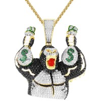 Men's 3D Gorilla IcedOut with Dollar Money Bags Custom Pendant
