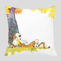 Calvin And Hobbes Under Tree, 16 x 16 Inch One Side, 16 x 16 Inch Two Side, 18 x 18 Inch One Side, 18 x 18 Inch Two Side, 20 x 20 Inch One Side, 20 x 20 Inch Two Side
