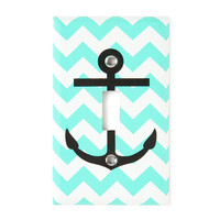 Mint and White Chevron Stripes with Anchor Switch Plate