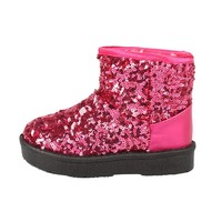 Kids Winter Snow Boots 2017 Fashion Sequins Thick Toddler Baby Warm Boots Cotton Children Boy Girl Princess Shoes 3Colors