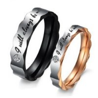 Men,Women's Stainless Steel Ring Band CZ Black Silver Gold Valentine Wedding Engagement Promise