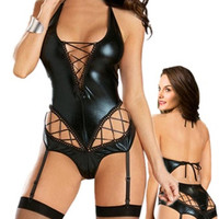 Easy Lover Sexy Patent Leather Teddy A-line Deep-v Lingerie with Garter Belt (Size: M, Color: Black) = 1931924740