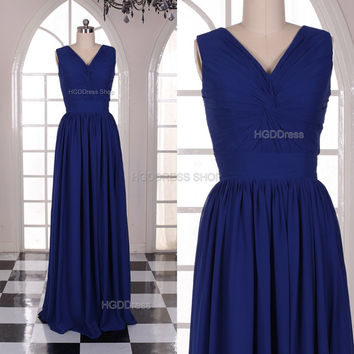 Royal Blue Bridesmaid Dress Handmade Simple Chiffon Prom Dresses Strapless Prom Dress Long Party Dress Long A-Line Formal Evening Dress