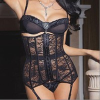 Women Hot Sexy Corselet Underbust Corset Latex Waist Cincher Shaper Gothic Black Floral Lace Waist Trainer Corsets And Bustiers