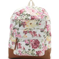 Madden Girl - Kendall & Kylie Floral School Backpack - Womens Backpack - White - One