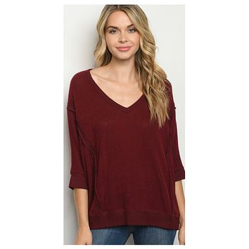 Special Sale! Adorable V Neck Burgundy Sweater Top