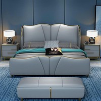 Luxury Modern Bedroom Light Double Bed Leather Bed