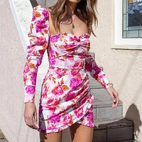 Fashion new floral print lotus leaf skirt square collar pile sleeves long sleeve pleated dress summer