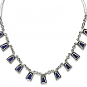 Sterling Silver and Lapis Lazuli Inca Semi collar