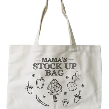 Mama's Stock Up Bag Women's 100% Cotton Canvas Tote Bag, Reusable Eco-bag