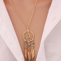 2016 Best Deal Fashion Retro Women  Tassels Feather Pendant Necklace Jewelry Bohemia Dream Catcher Pendant Chain Necklace Gift
