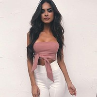 STRAPLESS SASH TIE CROPPED TOP