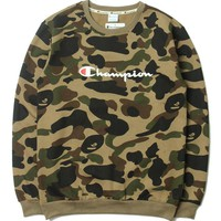 Champion Camouflage Letters Long-Sleeved Sweater