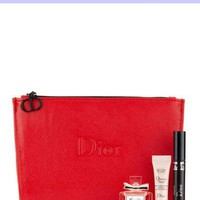 Dior Beaute Counter Gift - Red Faux Leather Cosmetics Makeup Toiletry Case Pouch Bag - (see size)