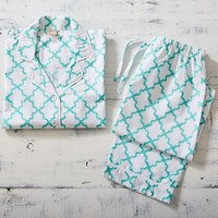 Breezy Lattice Pajama Set, Pool