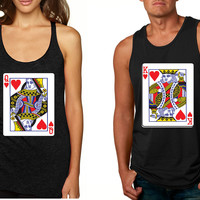 King and Queen matching couples Valentines day tanktop