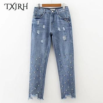 TXJRH Stylish Beading Embroidered Flares Washed Denim Jeans Ripped Bleached Pencil Pants Burr Hem Retro Women Trousers K17-04-07